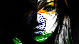 India Flag Art with Beautiful Girl Face