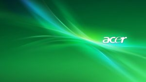 Acer Laptop Background with Abstract Green Lights
