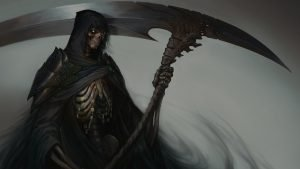 Artistic Grim Reaper Wallpaper with Large Scythe