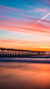 Hermosa Beach Pier Sunset - Beach Wallpaper for Phone
