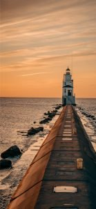 Beach Wallpaper for iPhone - 05 - Lighthouse During Sunset