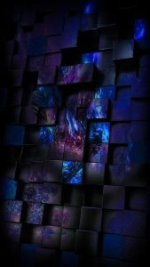 Apple iPhone SE Wallpaper 05 0f 50 - 3D Boxes in Dark Blue