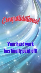 Congratulations for The Promotion Images with Abstract Blue Background