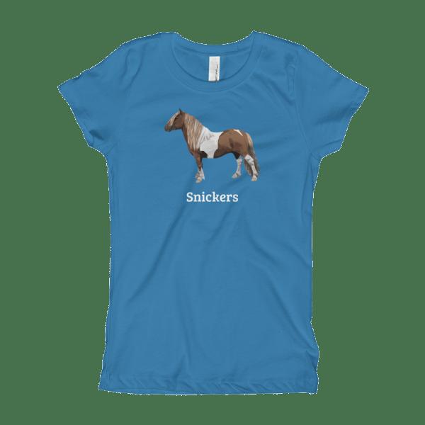 Shetland Pony Customizable Girl's T-Shirt blue