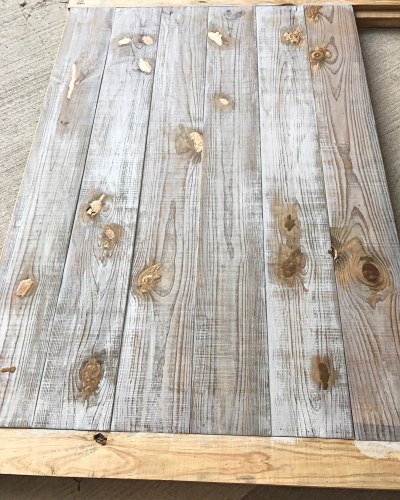 natural weathered wood stain and whitewash with gold epoxy