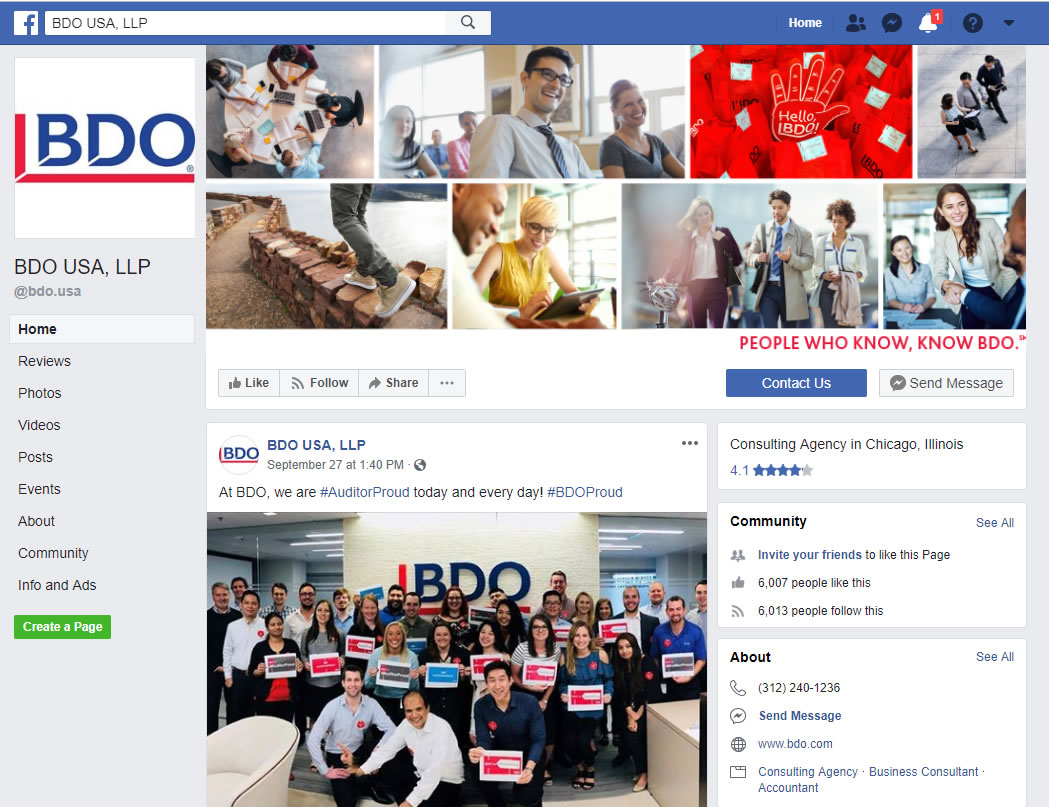 BDO USA LLP Facebook screenshot