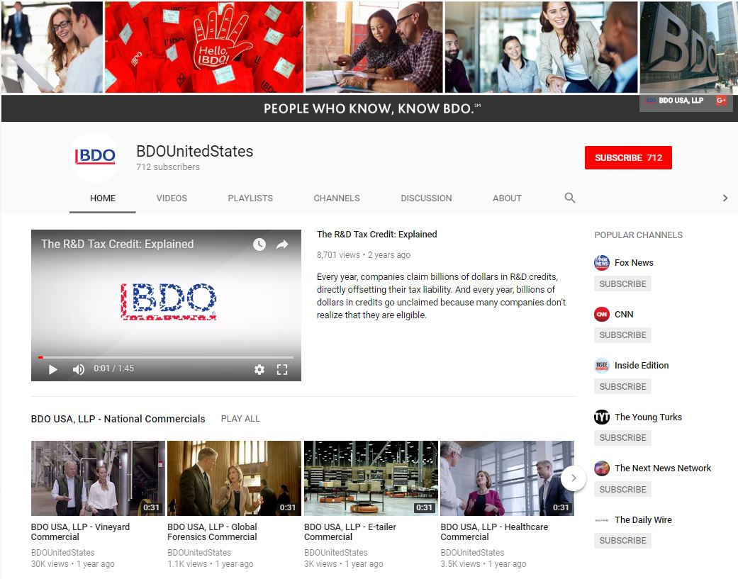 BDO USA LLP YouTube screenshot