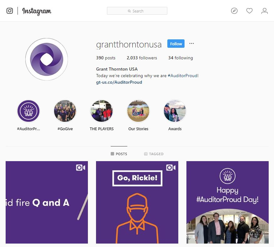 Grant Thornton Instagram account screenshot