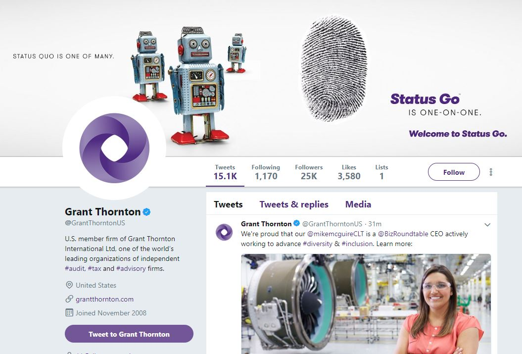 Grant Thornton Twitter account screenshot