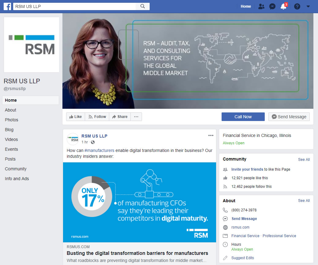 RSM US LLP Facebook screenshot