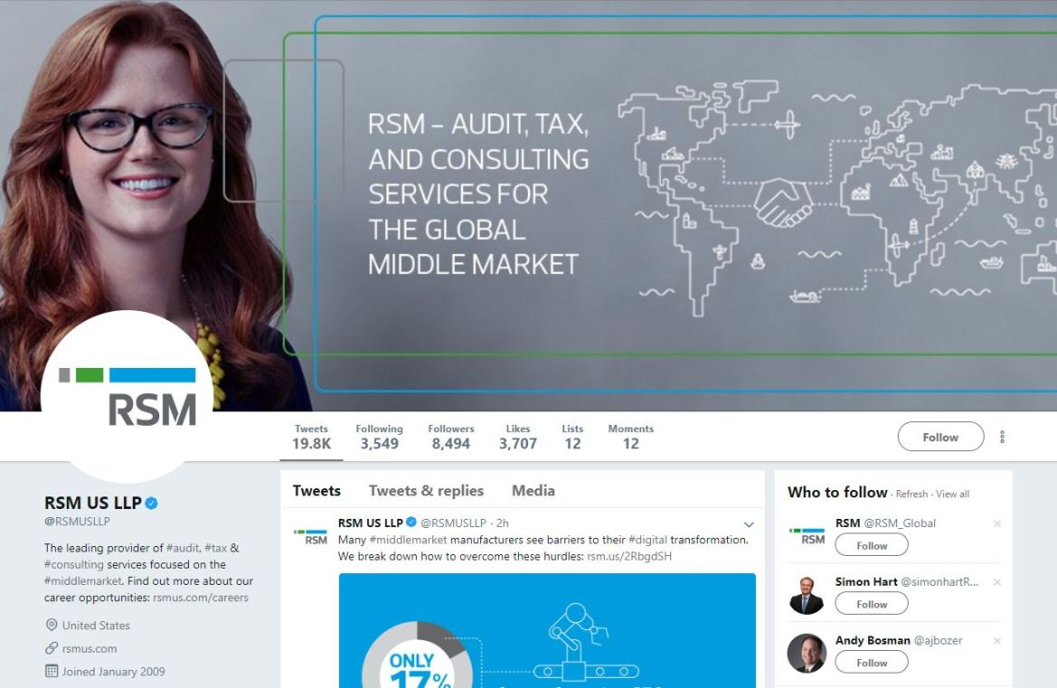 RSM US LLP Twitter account screenshot