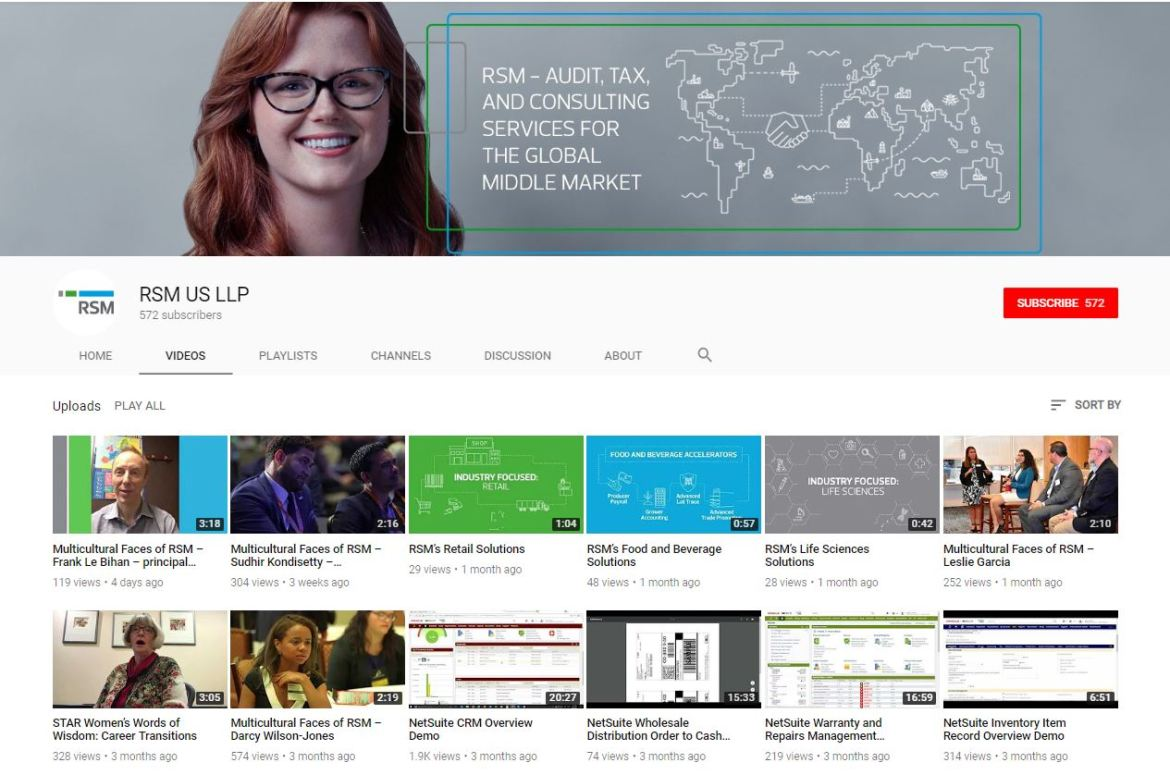 RSM US LLP YouTube screenshot