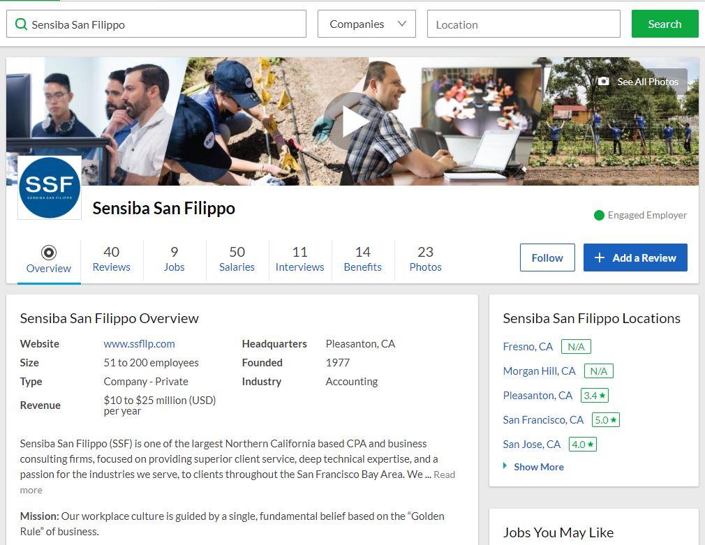 Sensiba San Filippo LLP Instagram account screenshot