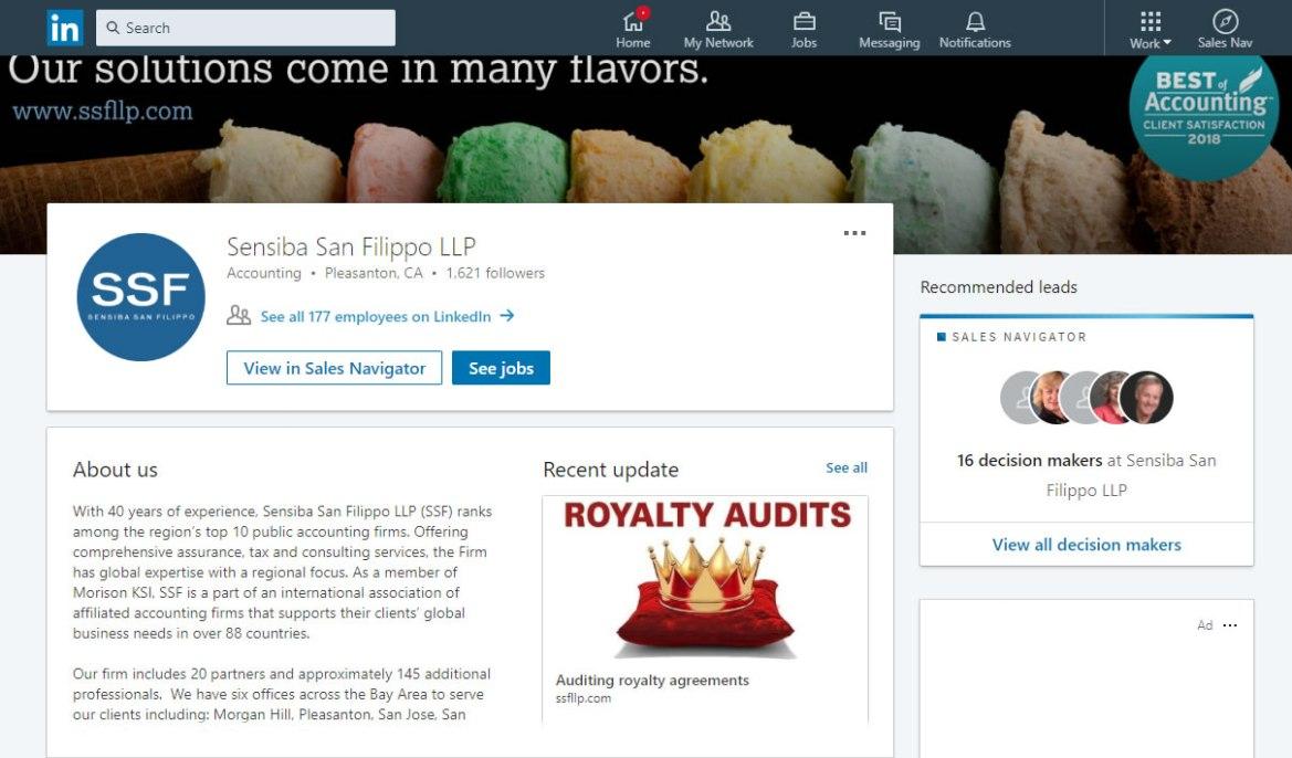 Sensiba San Filippo LLP LinkedIn screenshot