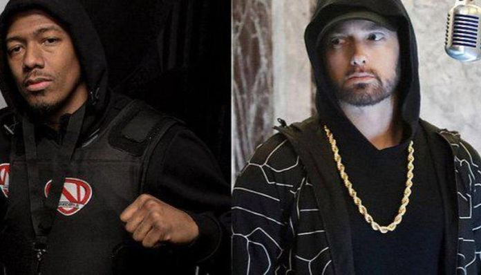 Nick Cannon Says He's Ready To End His Beef With Eminem - Nick Cannon and Eminem pic collage