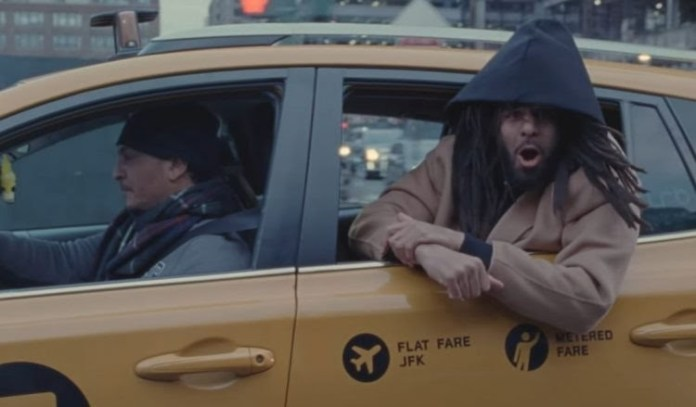 J. Cole Takes A Taxi In New York For His New Video 'Punchin' The Clock'