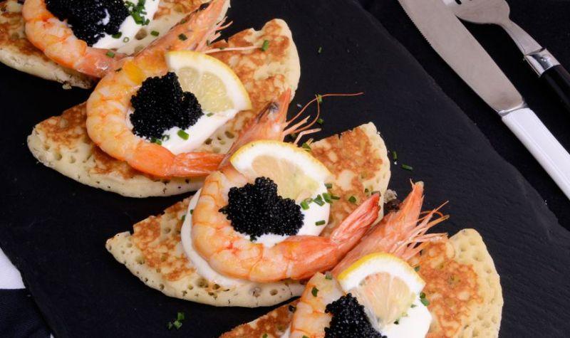 Easy Shrimp Caviar Blinis