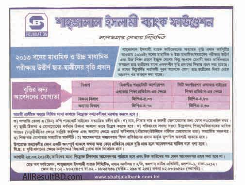 Shahjalal Islami Bank Foundation Scholarship 2014 Published