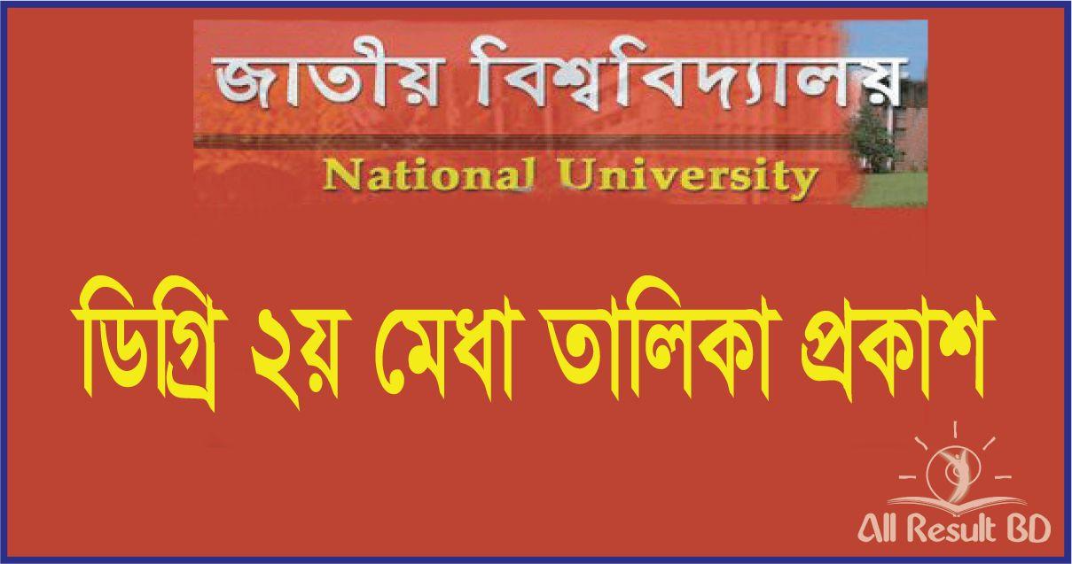 NU Degree 2nd Merit List Result 2016- 2017 App.nu.edu.bd
