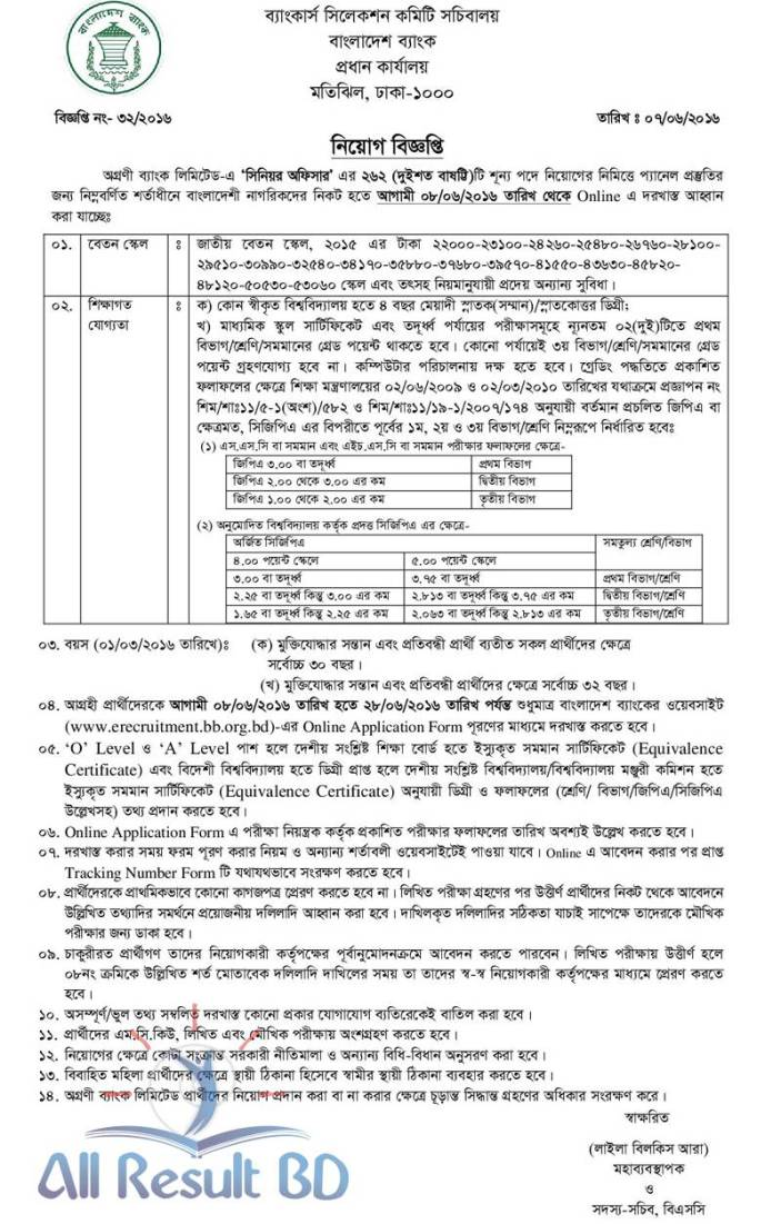 Agrani Bank Ld Senior Officer Job Circular
