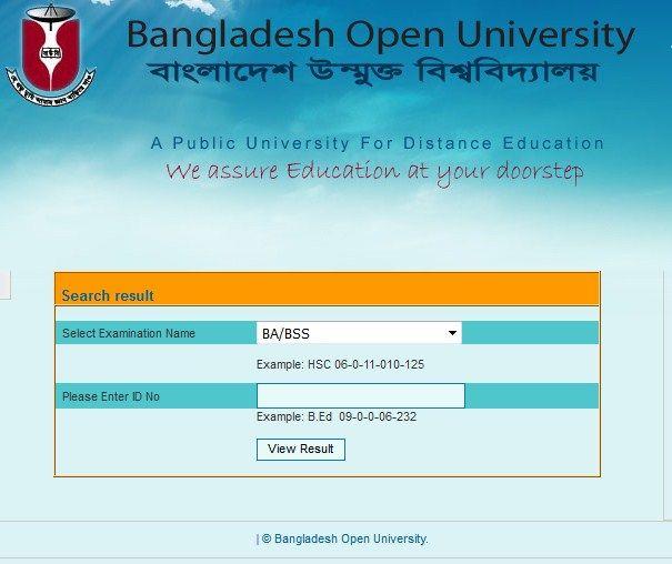 Bangladesh Open University BA/BSS Result