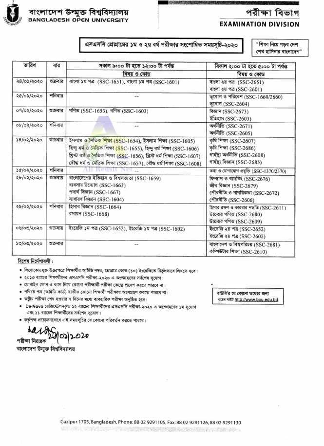 New BOU SSC Routine 2020