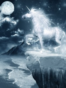 Unicorn standing on the cliff