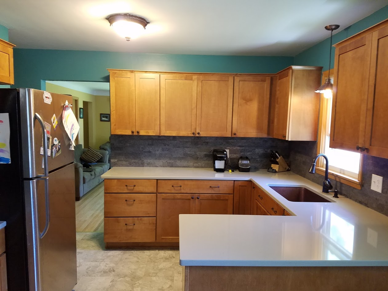 maple countertops kitchen shaker cabinets remodel with and hanstone quartz