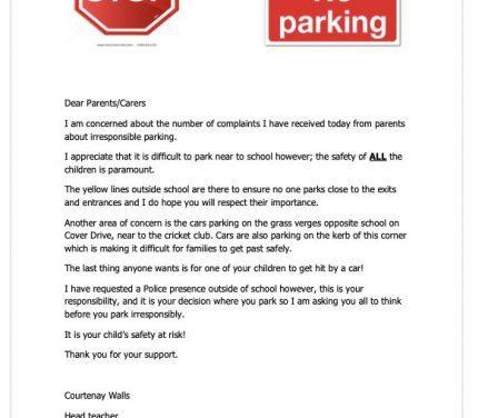 Parking outside school April 2021