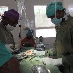 Surgery in progress at St Peter's hospital