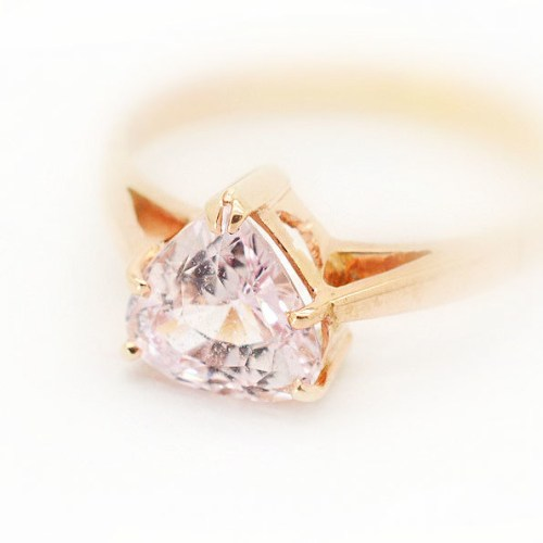 delicate peach sapphire rose gold ring