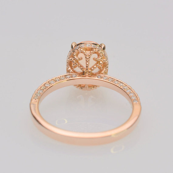 2 01 Carat Oval Sunset Sapphire Rose Gold Engagement Ring Model