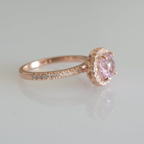 153 ct stunning round champagne peach sapphire diamond rose gold engagement ring junglespirit Images