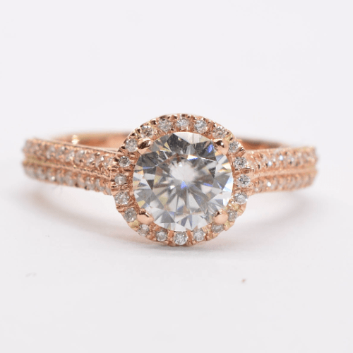 Moissanite gold ring, Rose gold engagement ring,