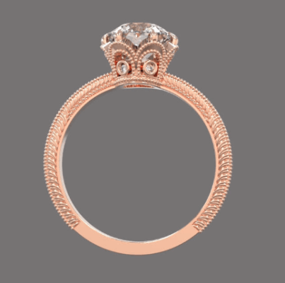 6.5 mm Moissanite in a gold diamonds engagement ring