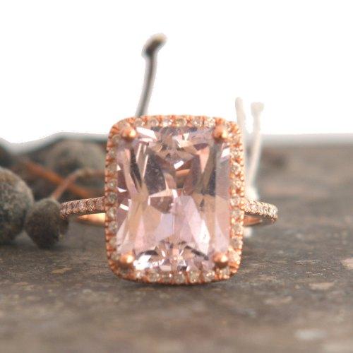 emerald cut peach sapphire