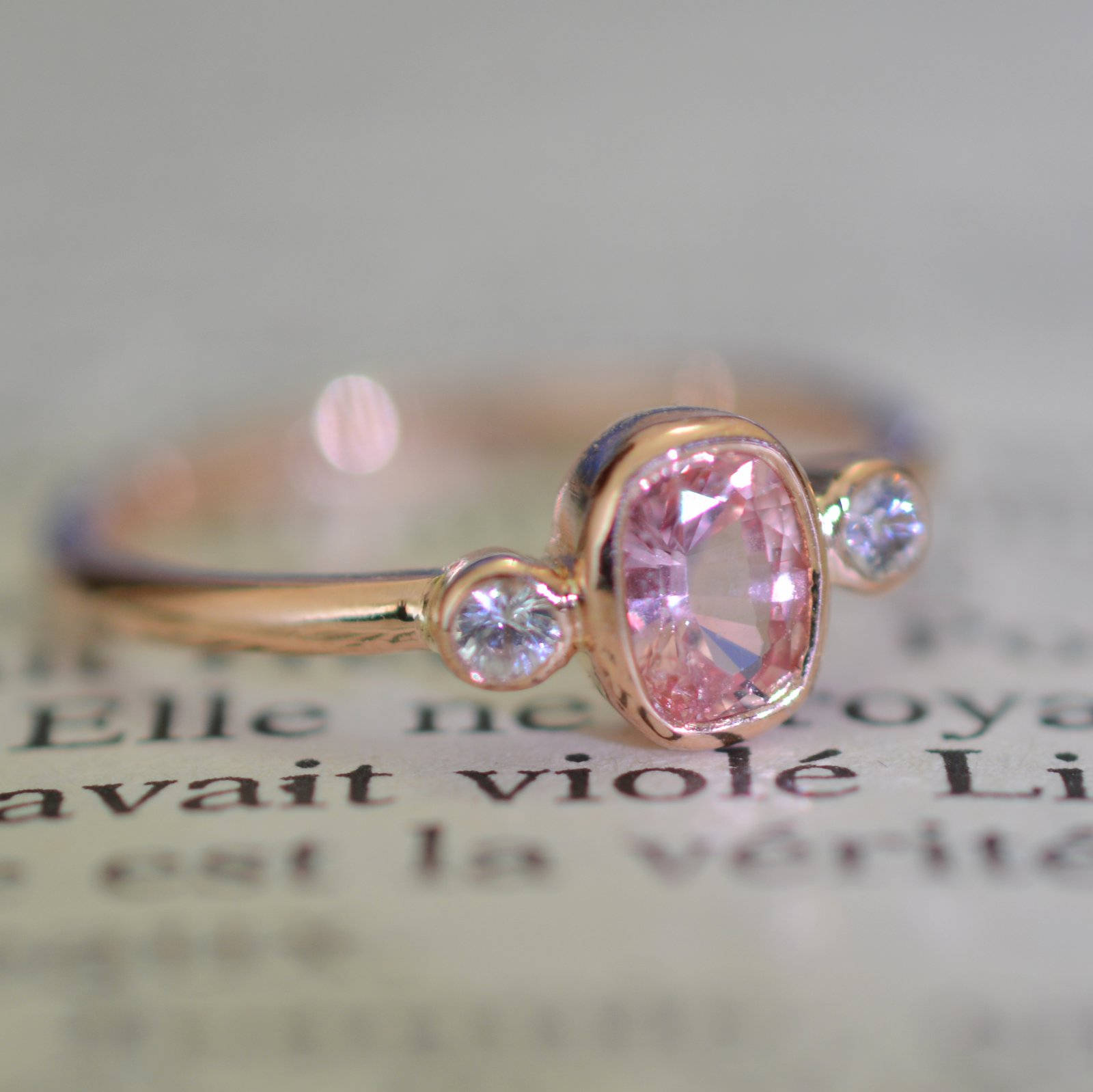 Promise ring cushion peach champagne sapphire 3 stones rose gold cushion peach champagne sapphire ring junglespirit Images
