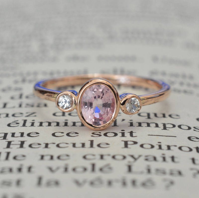 Promise ring oval peach champagne sapphire 3 stones rose gold oval peach champagne sapphire ring junglespirit Images