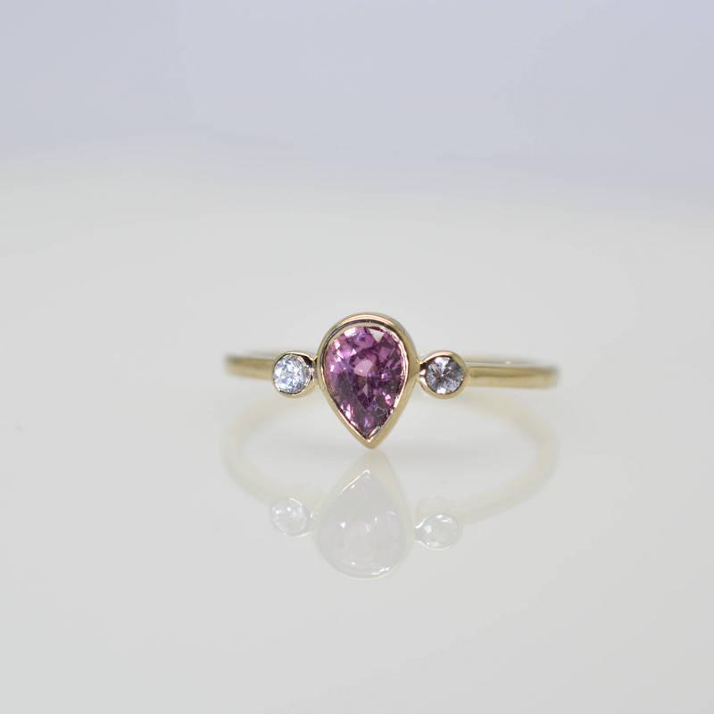 pear shape purple 3 stones ring