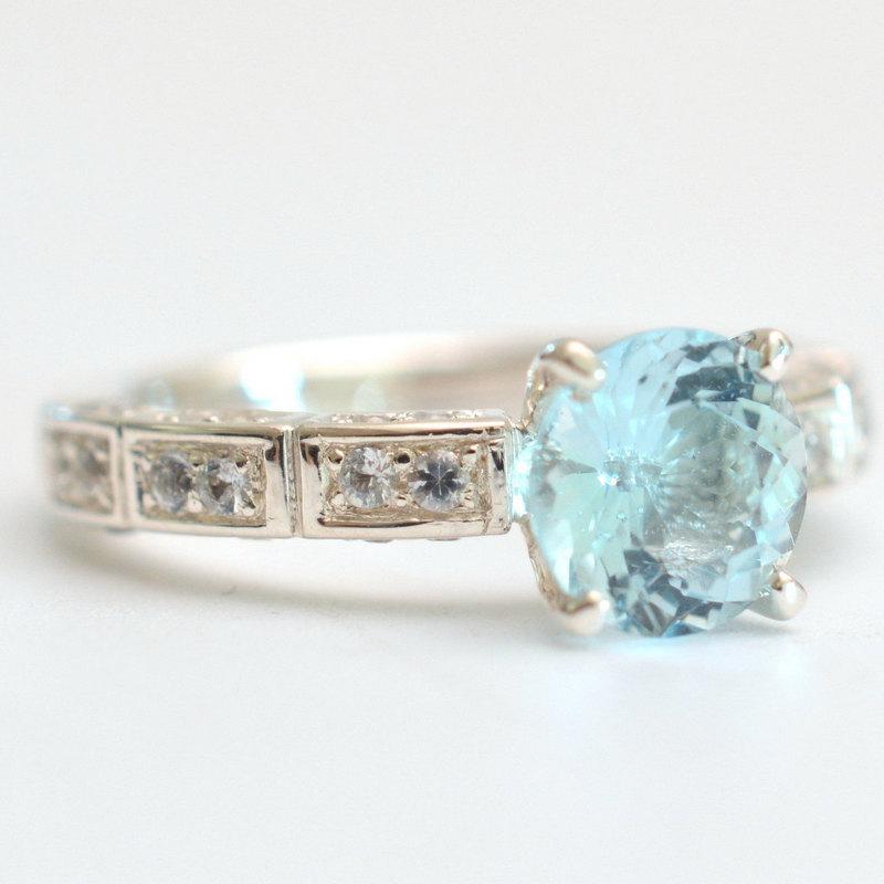 Handmade Ring With Aquamarine Jewelry Sapphires Palladium Silver