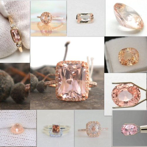 peach sapphires engagement rings