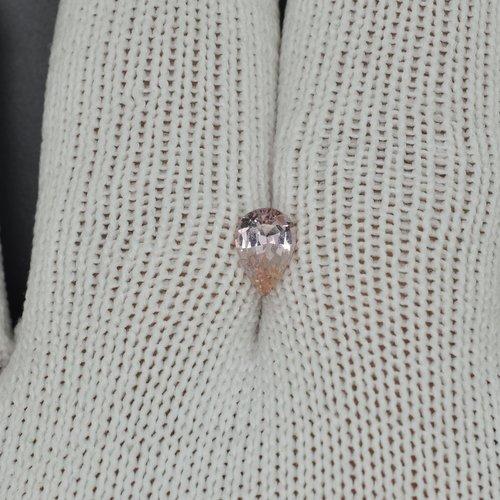 Pear shape peach sapphire