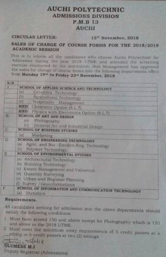 Auchi Poly Change of Course Form 2018/2019 is Out
