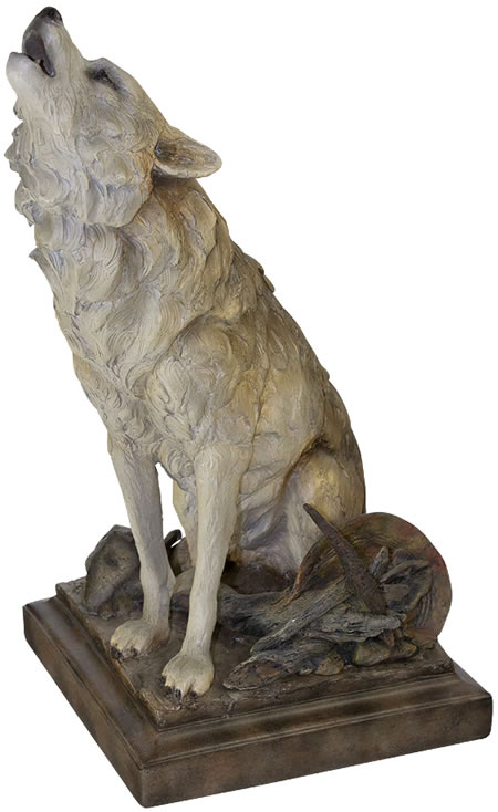 Global Views Home Decor Call Of The Wild Howling Wolf Sculpture, Mill-creek