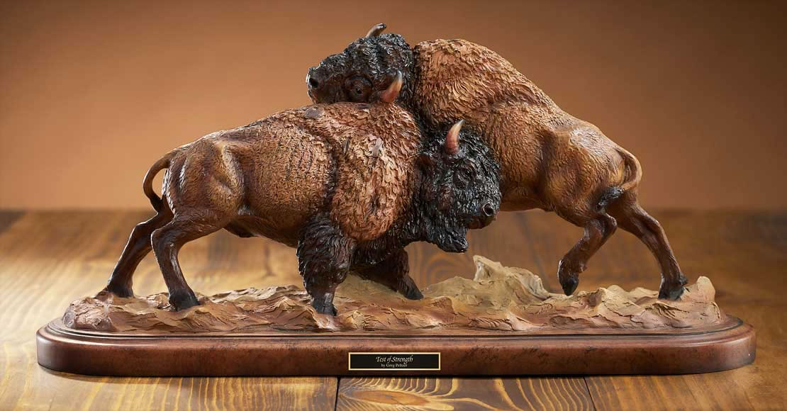 Global Views Home Decor Test Of Strength Buffalo Sculpture, Mill-creek-studios-all