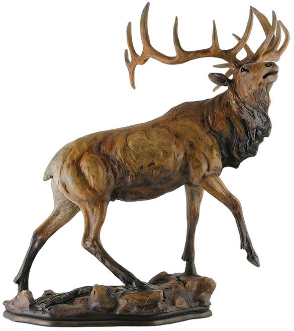 Global Views Home Decor Majesty Elk Sculpture- Small, Mill-creek-studios-all