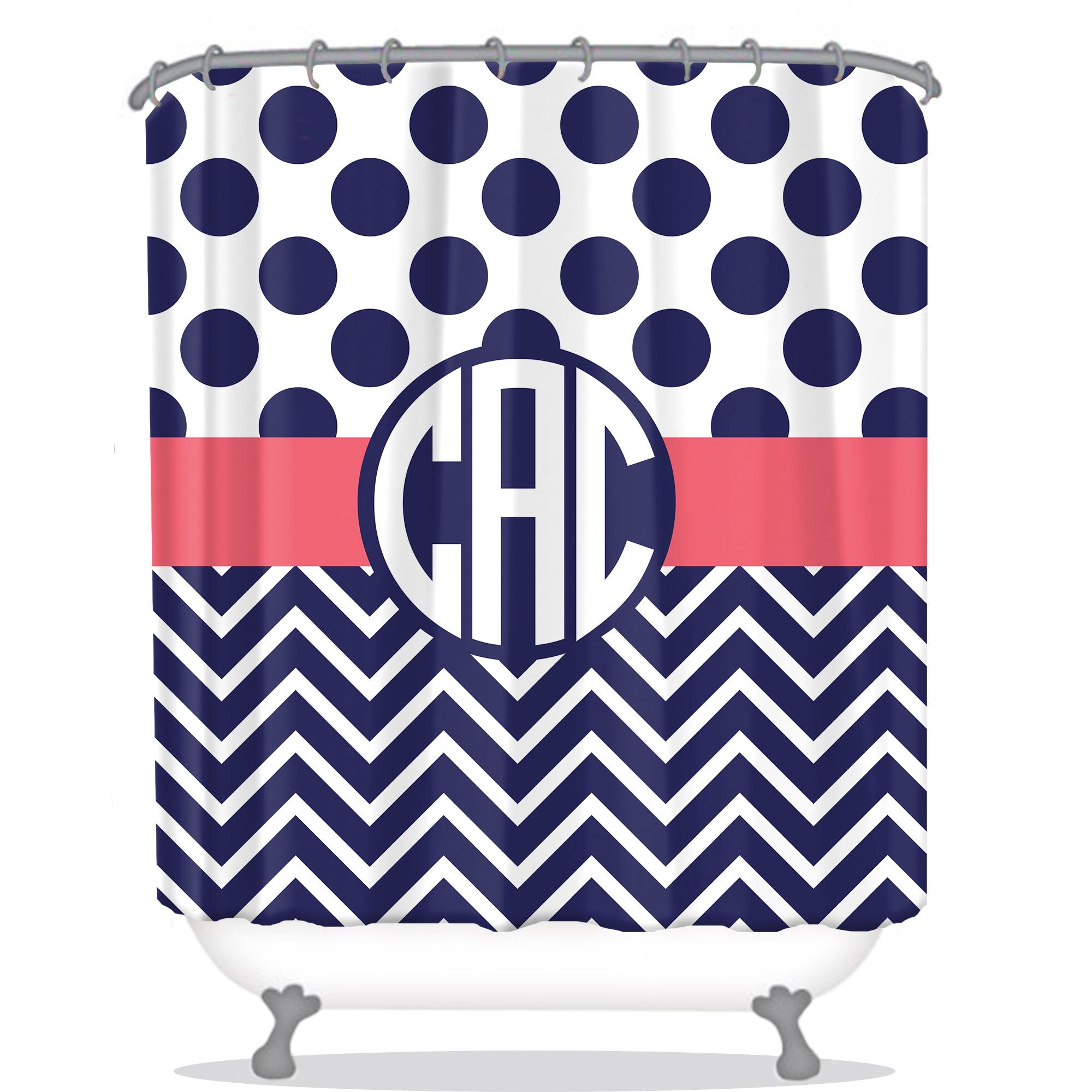 polkadot chevron pattern personalized shower curtain all seasons gifts