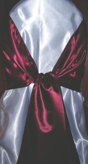 dark red chair sashes armless sectional cherry satin sash all seasons party linen rental