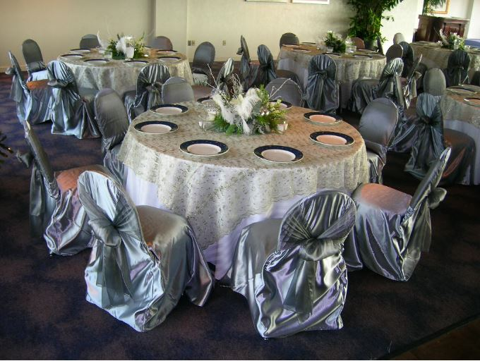 gold chair covers to rent car seat computer all seasons party linen st louis mo 63132 silver beaded overlay and satin w organza ties