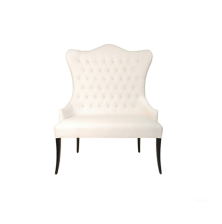 white tufted chair pool chairs walmart all seasons party linen rental
